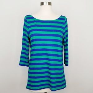 Lilly Pulitzer Blue & Green Striped Boatneck Top